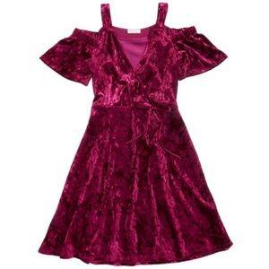 ✨NWOT Red Velvet Cold Shoulder Dress